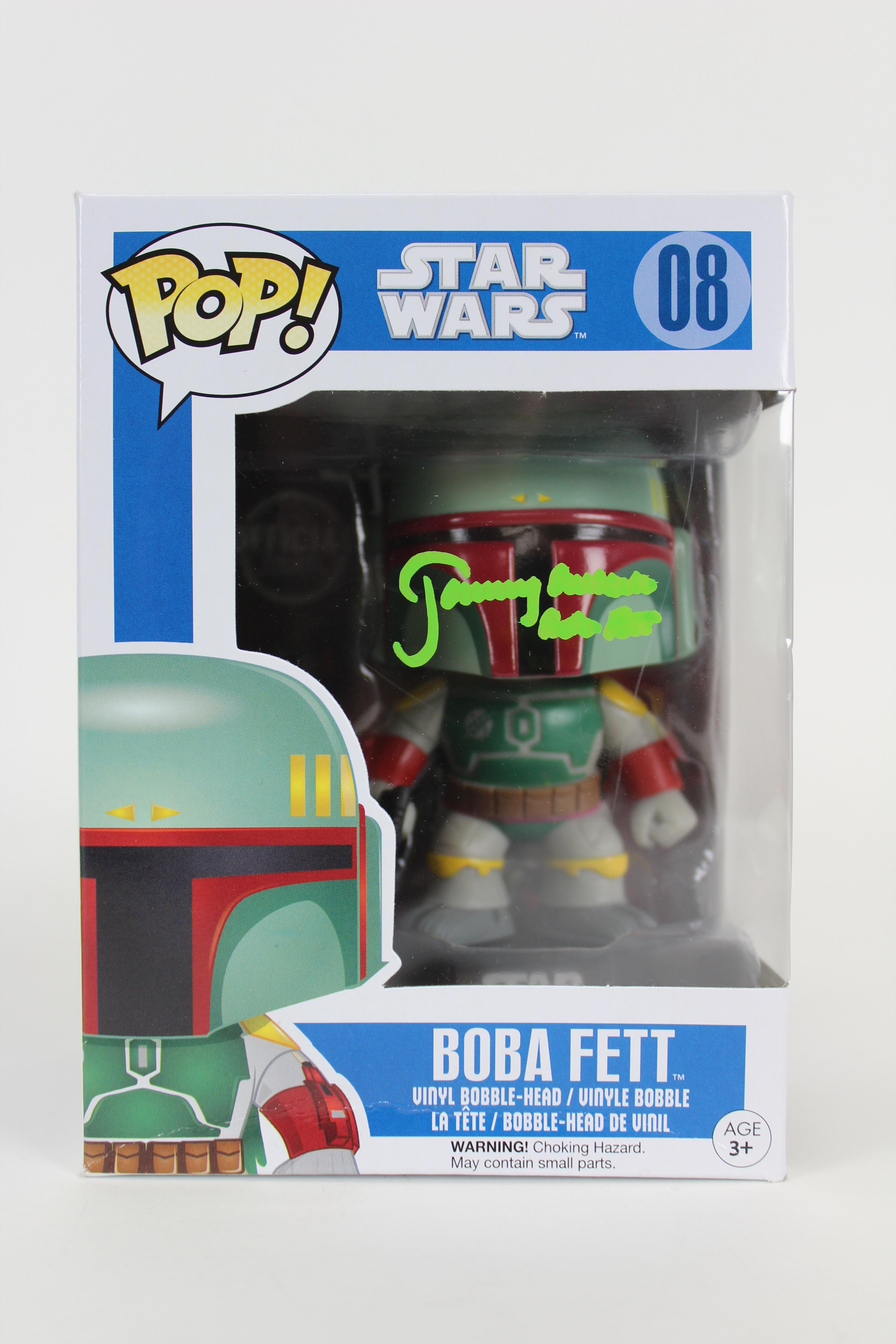 """Jeremy Bulloch """"Boba Fett"""" Signed In Green Boba Fett Funko Pop Vinyl Figure BAS"""
