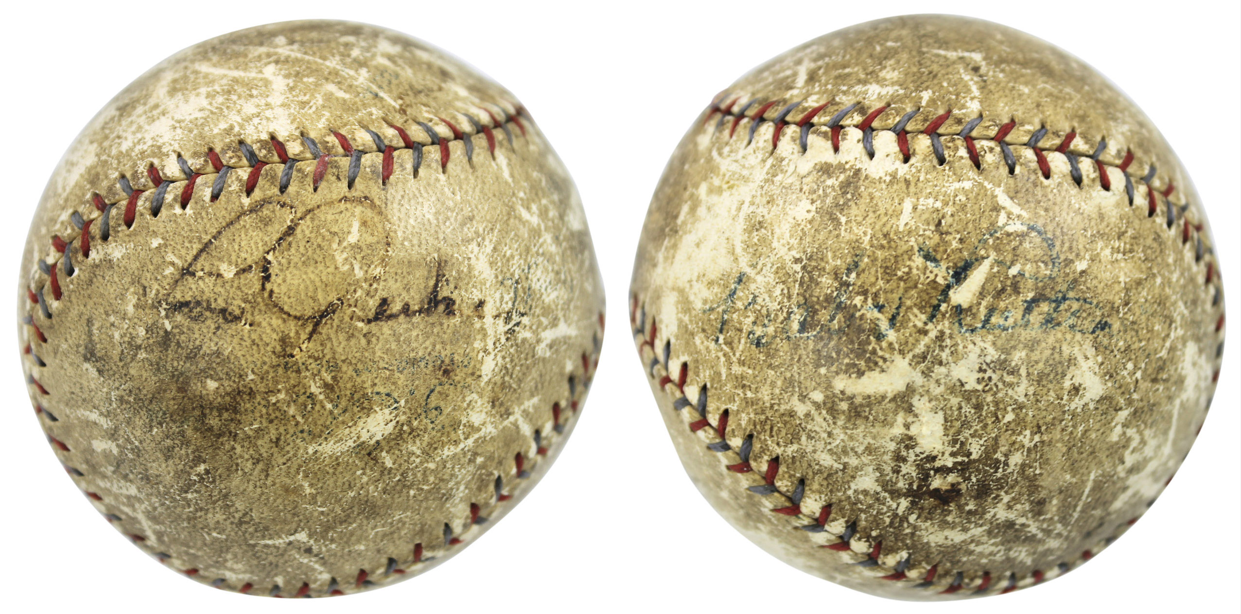 Yankees Babe Ruth & Lou Gehrig Authentic Signed Barnard Oal Baseball Bas #a89685