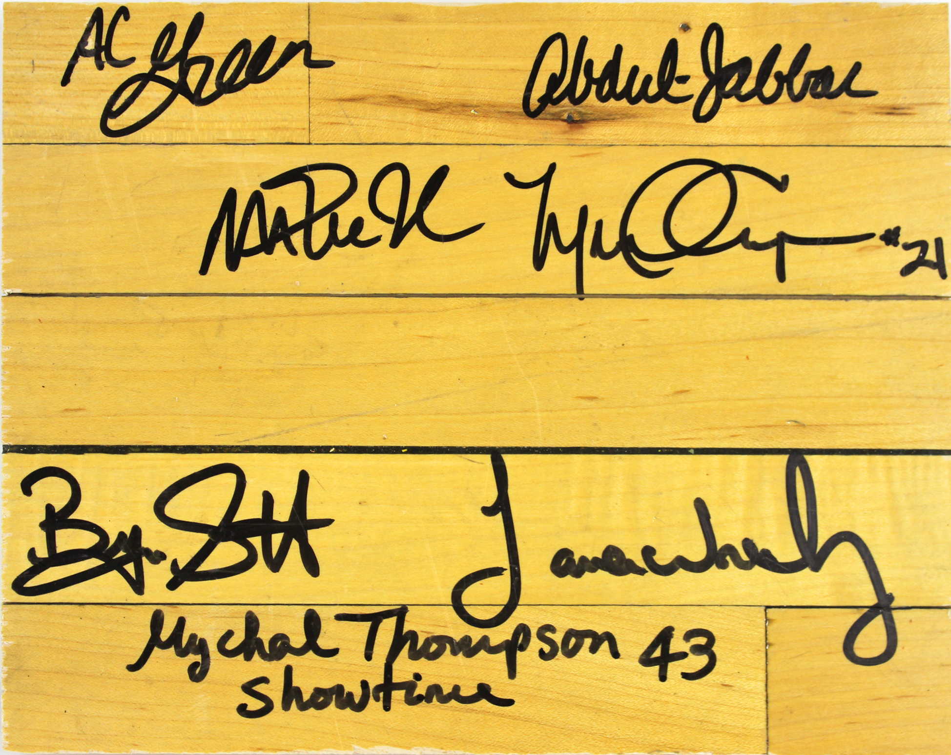 3f22074a Showtime Lakers (7) Magic, Kareem +5 Signed 8x10 Forum Floorboard ...
