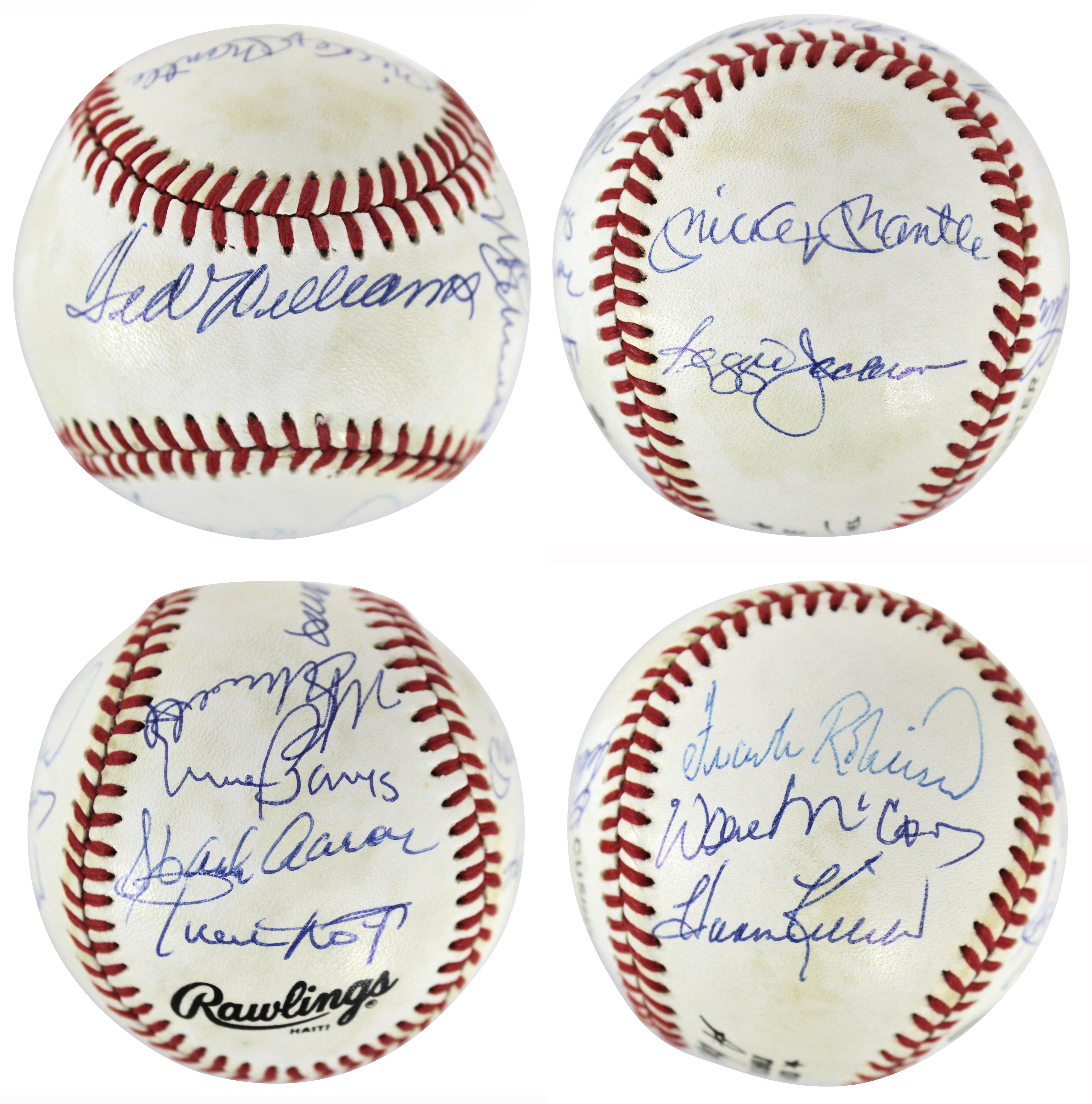 500 Home Run Club (11) Williams, Mantle, Aaron Signed Onl Baseball Bas #a70564
