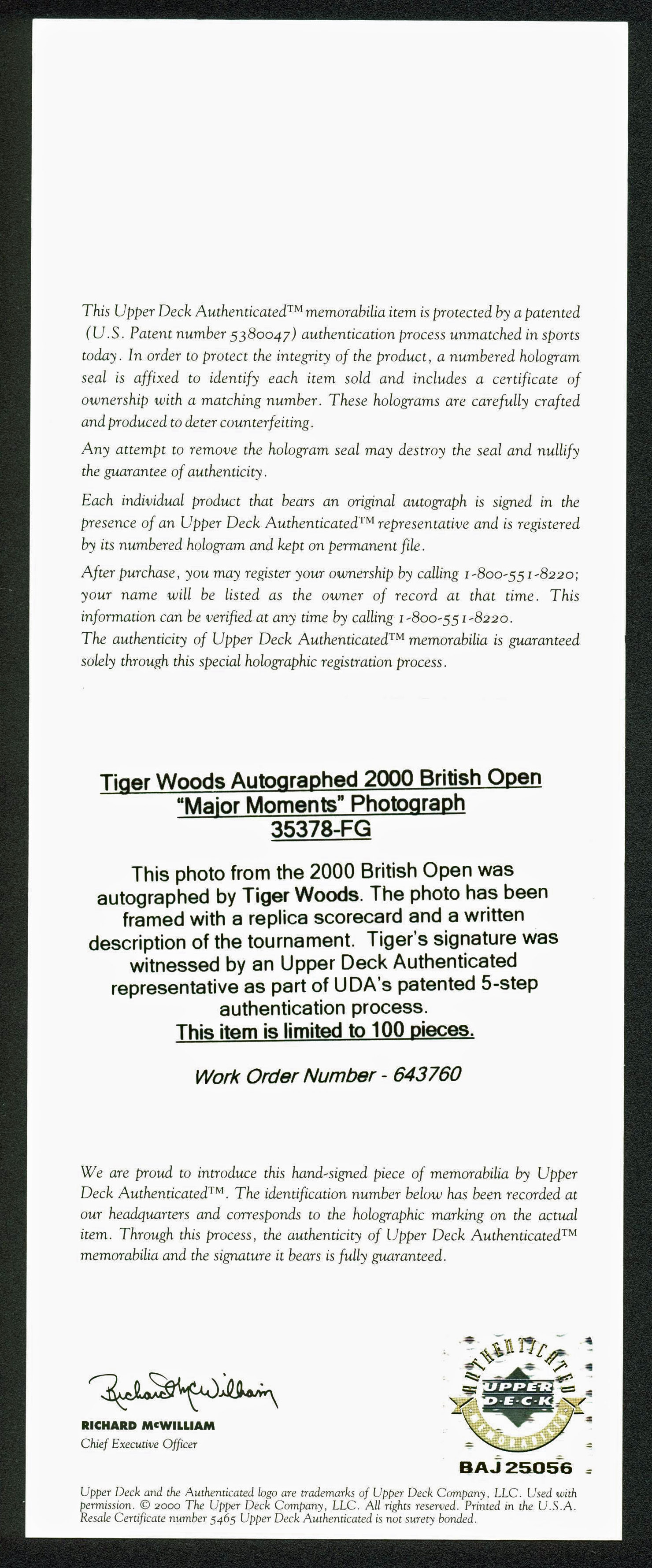 Tiger Woods PGA Golf Authentic Signed 8x10 Limited Edition Photo 24 ...