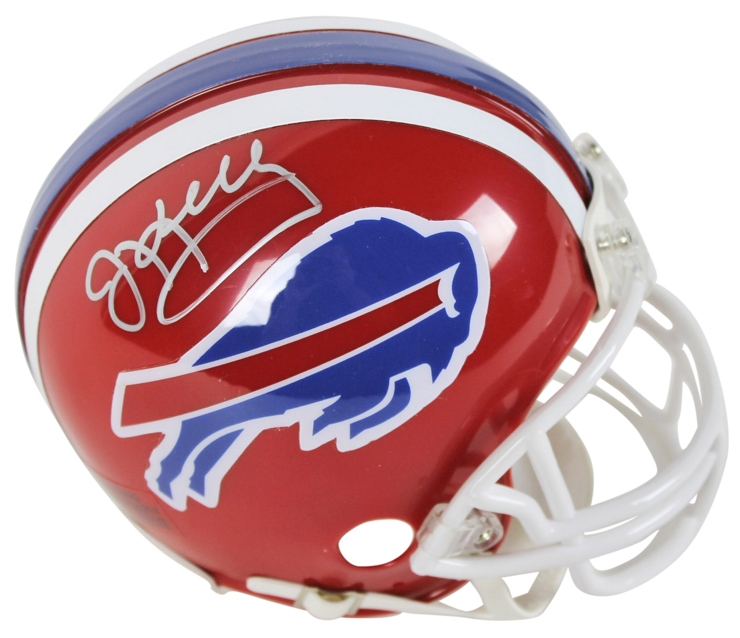 Bills Jim Kelly Authentic Signed Red Throwback Mini Helmet JSA Witness