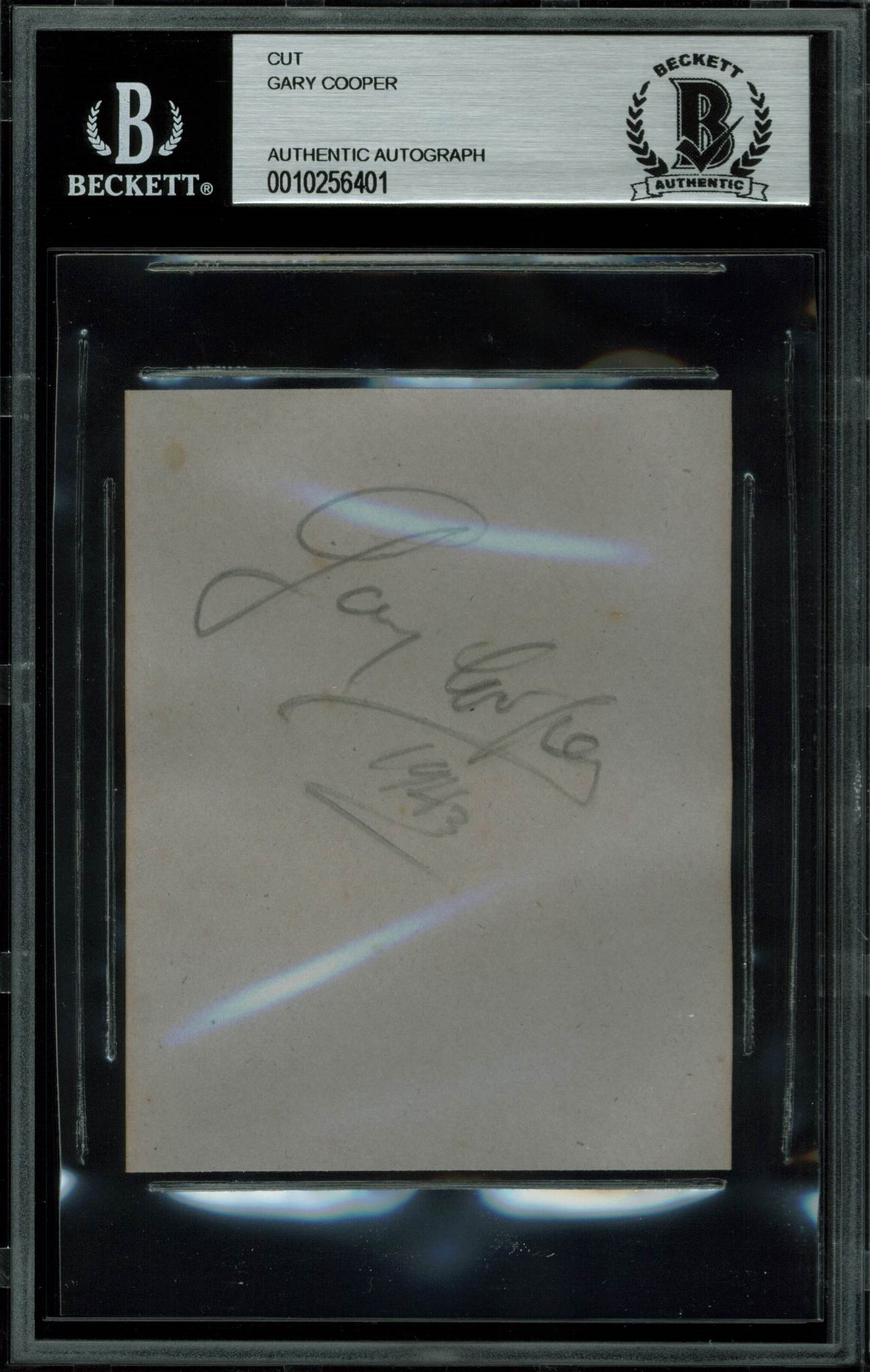 """Gary Cooper High Noon """"1943"""" Authentic Signed 3.25x4 Cut Signature BAS Slabbed"""