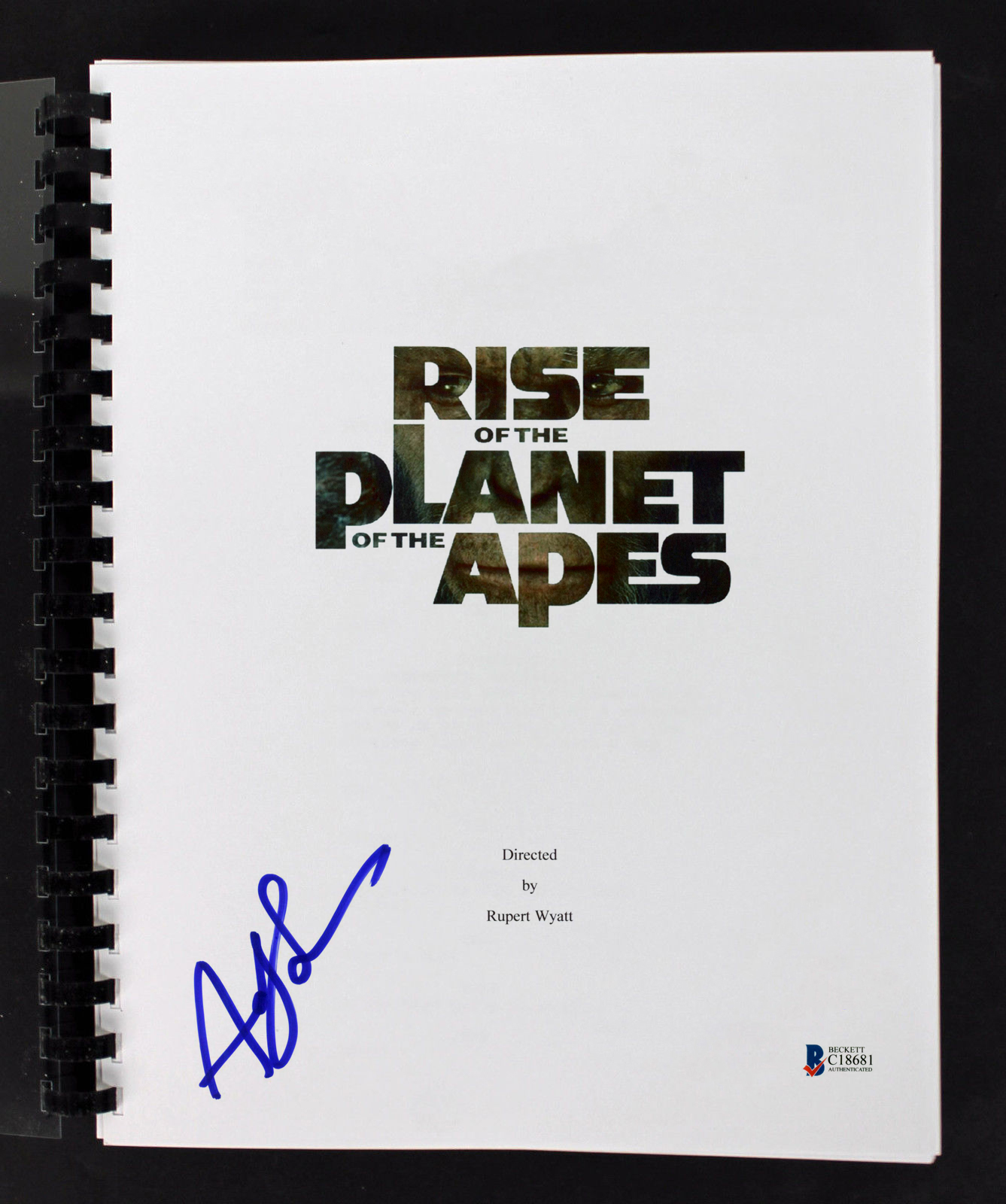 Andy Serkis  Signed Rise of the Planet of the Apes Movie Script BAS #C18681
