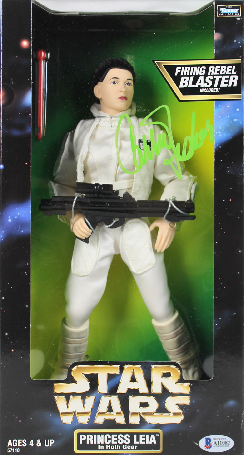 "Carrie Fisher  Signed Star Wars Princess Leia Hoth Gear 12"" Figure BAS #A11082"