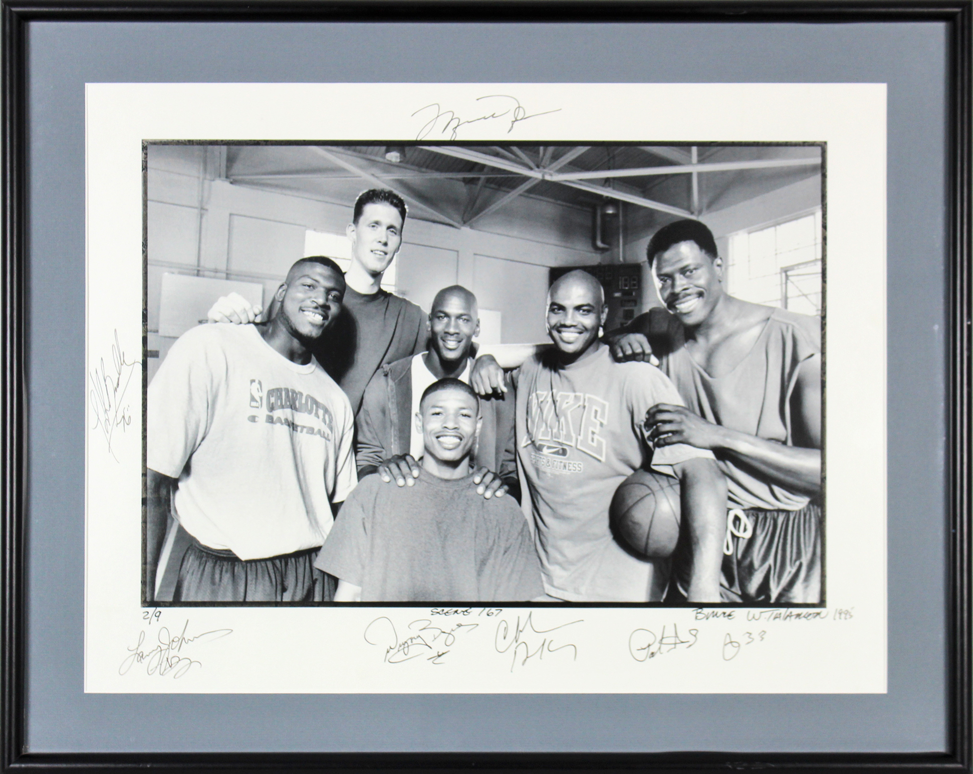 Space Jam (7) Jordan, Barkley, Ewing Signed & Framed 18x24 Photo LE #2/9 BAS LOA