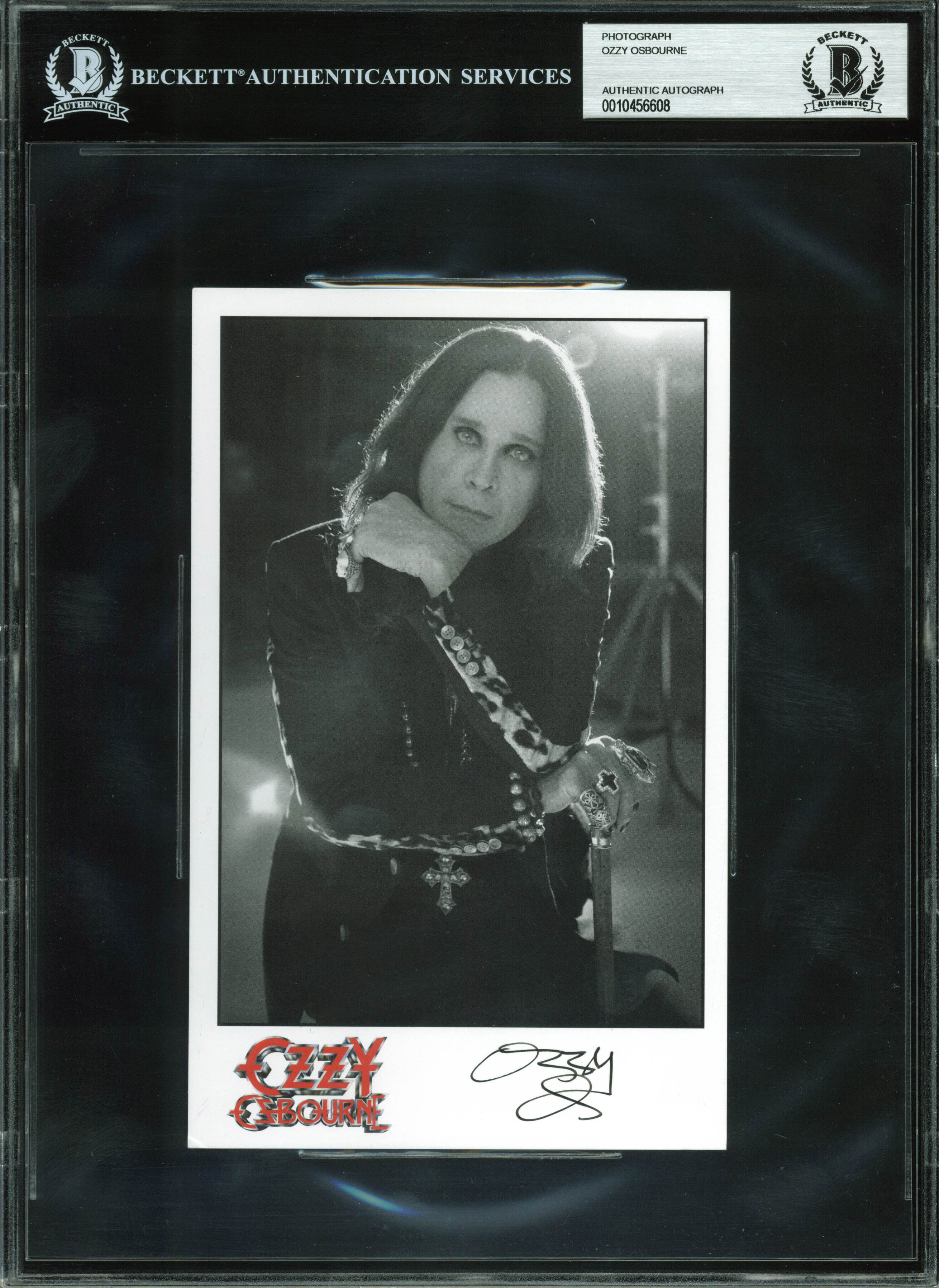 Ozzy Osbourne Black Sabbath Authentic Signed Promotional 5x8 Photo BAS Slabbed