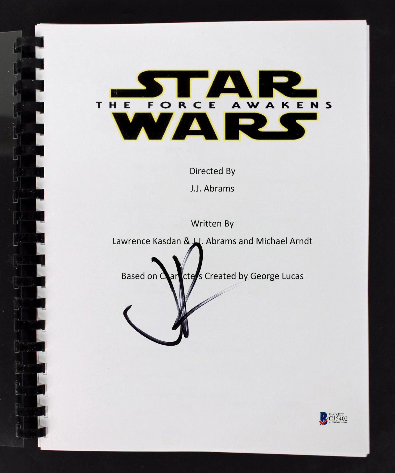 J.J. Abrams Authentic Signed Star Wars The Force Awakens Movie Script BAS C15402
