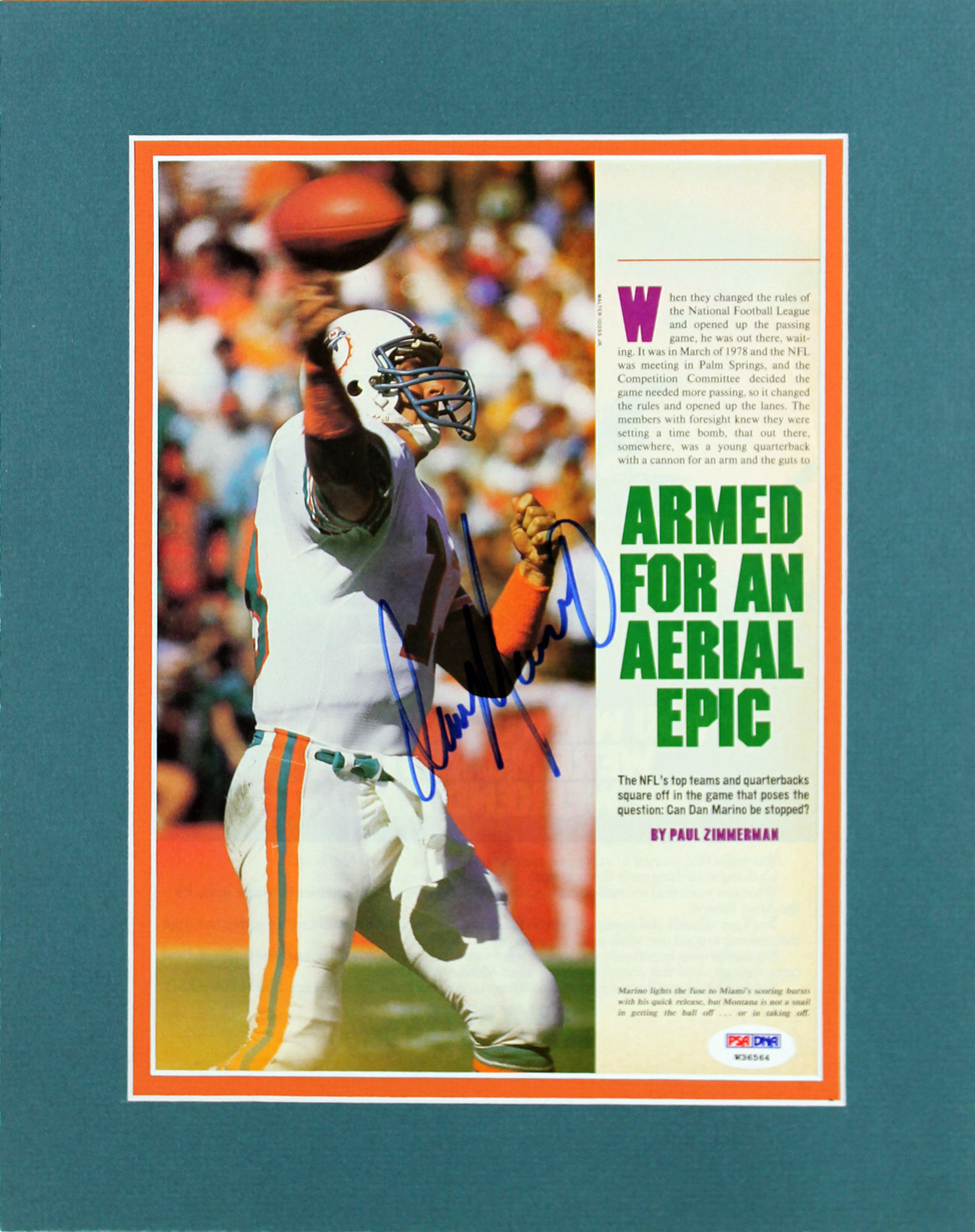 Dolphins Dan Marino Authentic Signed Matted Magazine Page PSA ... 19c5b5940