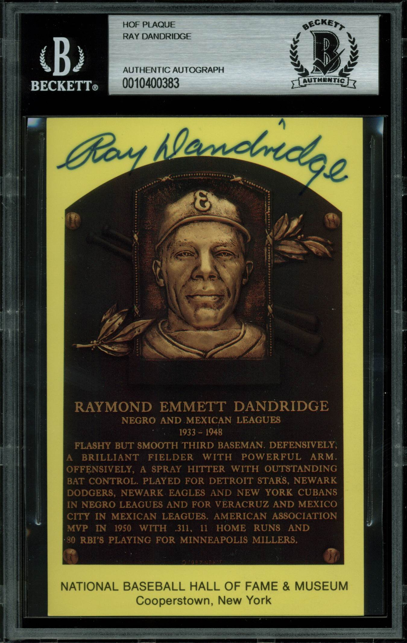 Ray Dandridge Authentic Signed 3.5x5.5 HOF Plaque Postcard BAS Slabbed