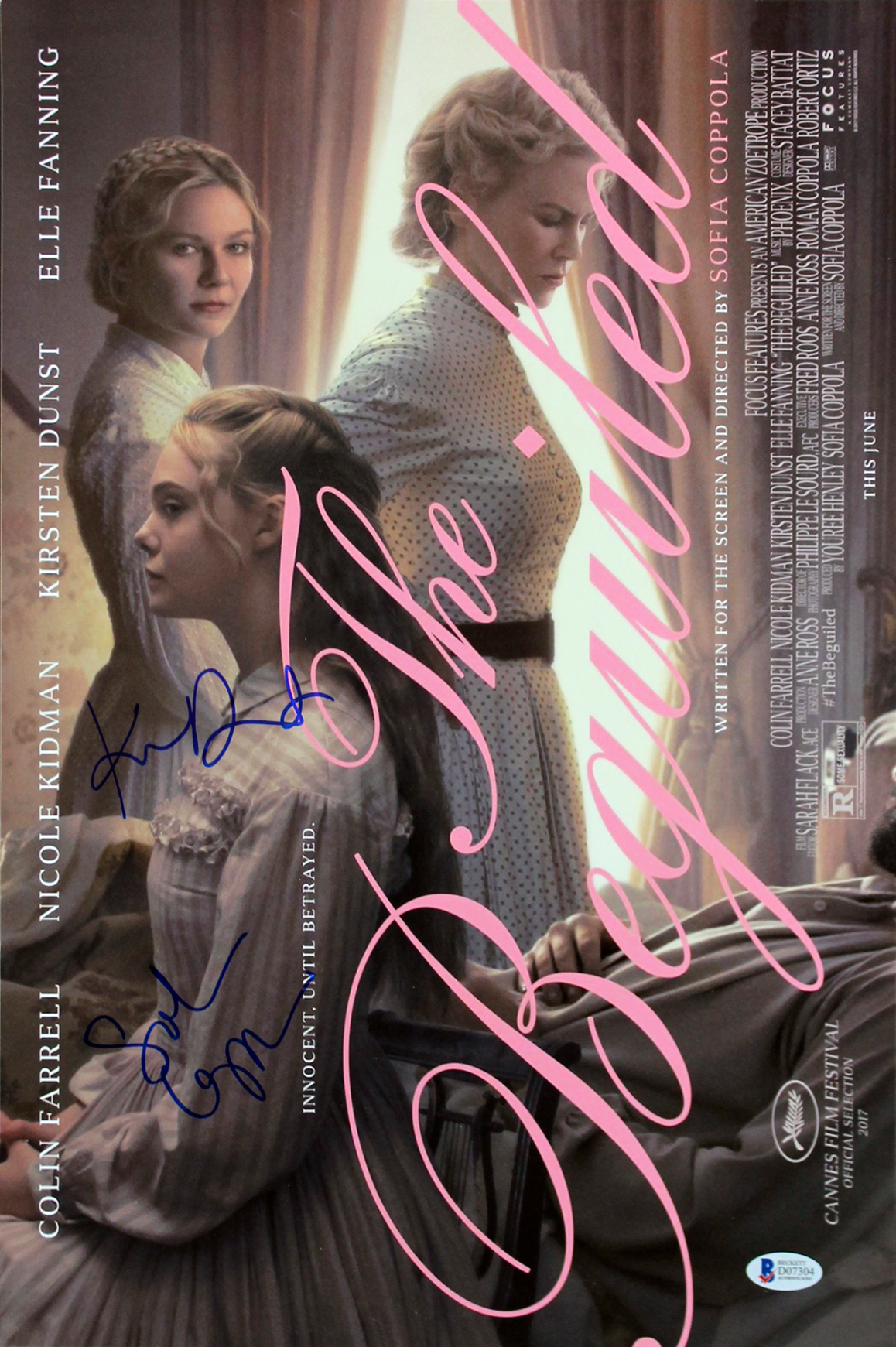 Kirsten Dunst & Sofia Coppola The Beguiled Signed 12x18 Photo BAS #D07304