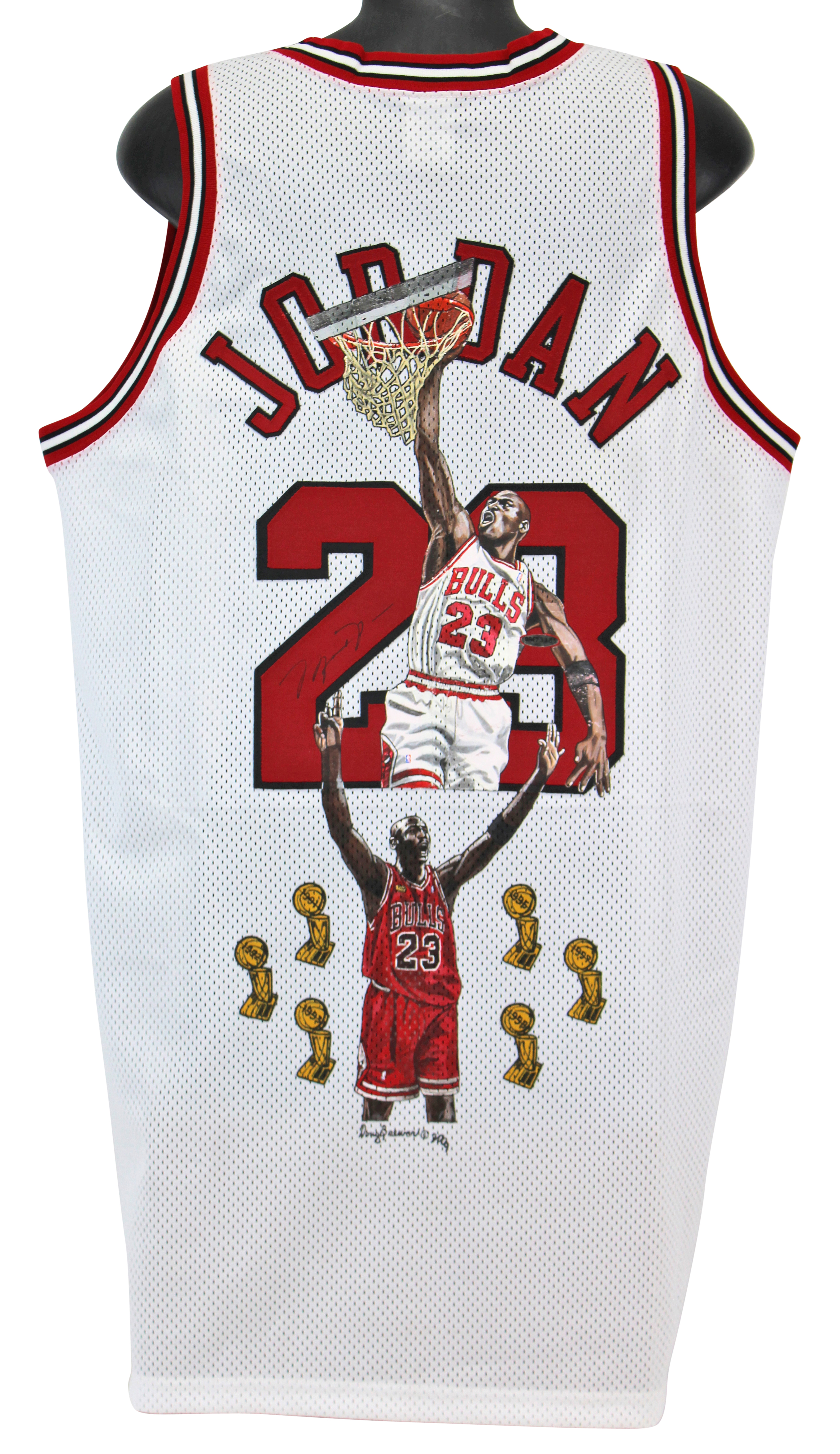 brand new afc67 2caff Bulls Michael Jordan Signed Hand Painted White Nike Jersey UDA #BAE73385 |  eBay