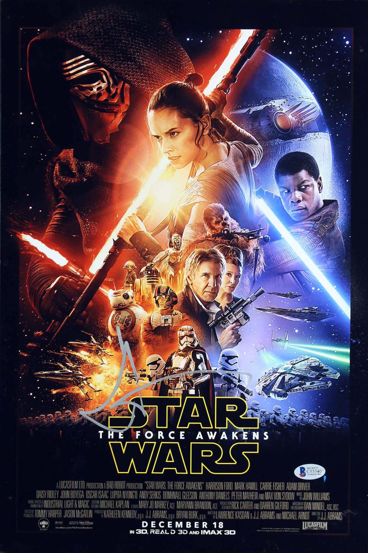 J.J. Abrams Star Wars The Force Awakens Authentic Signed 12x18 Photo BAS #C55540